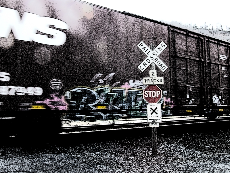 Norfolk Southern boxcar with graffiti