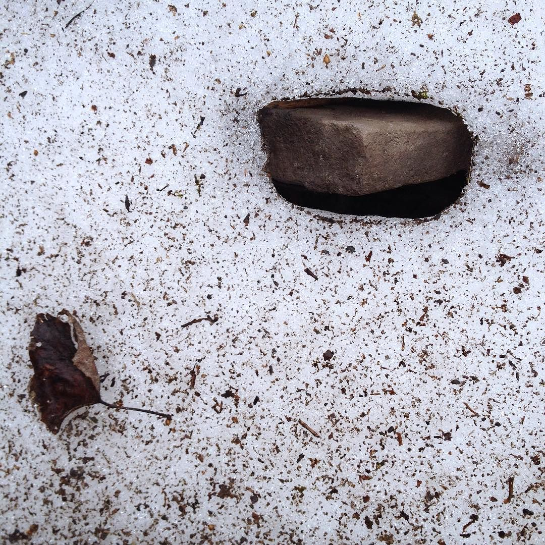 Close-up of a patch of dirty snow with a rock sticking out of a melted hole..