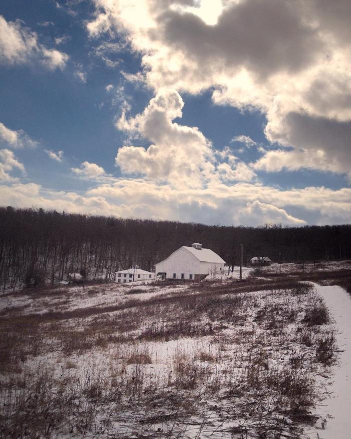 Snowy landscape of woods and meadows with a cluster of white buildings in the distance under a sky dotted with cumulus clouds.