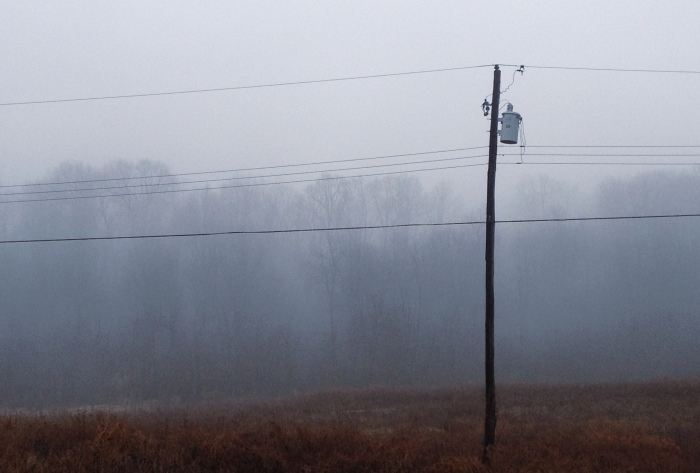 power pole in an old field with a foggy ridgeline behind it